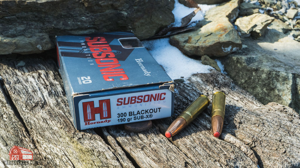 a box and rounds of hornady subsonic 300 blackout 190 gr. sub-x ammo