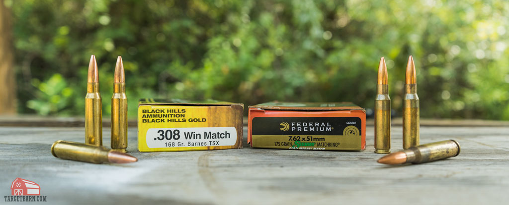 a box of 308 ammo next to a box of 7.62 ammo