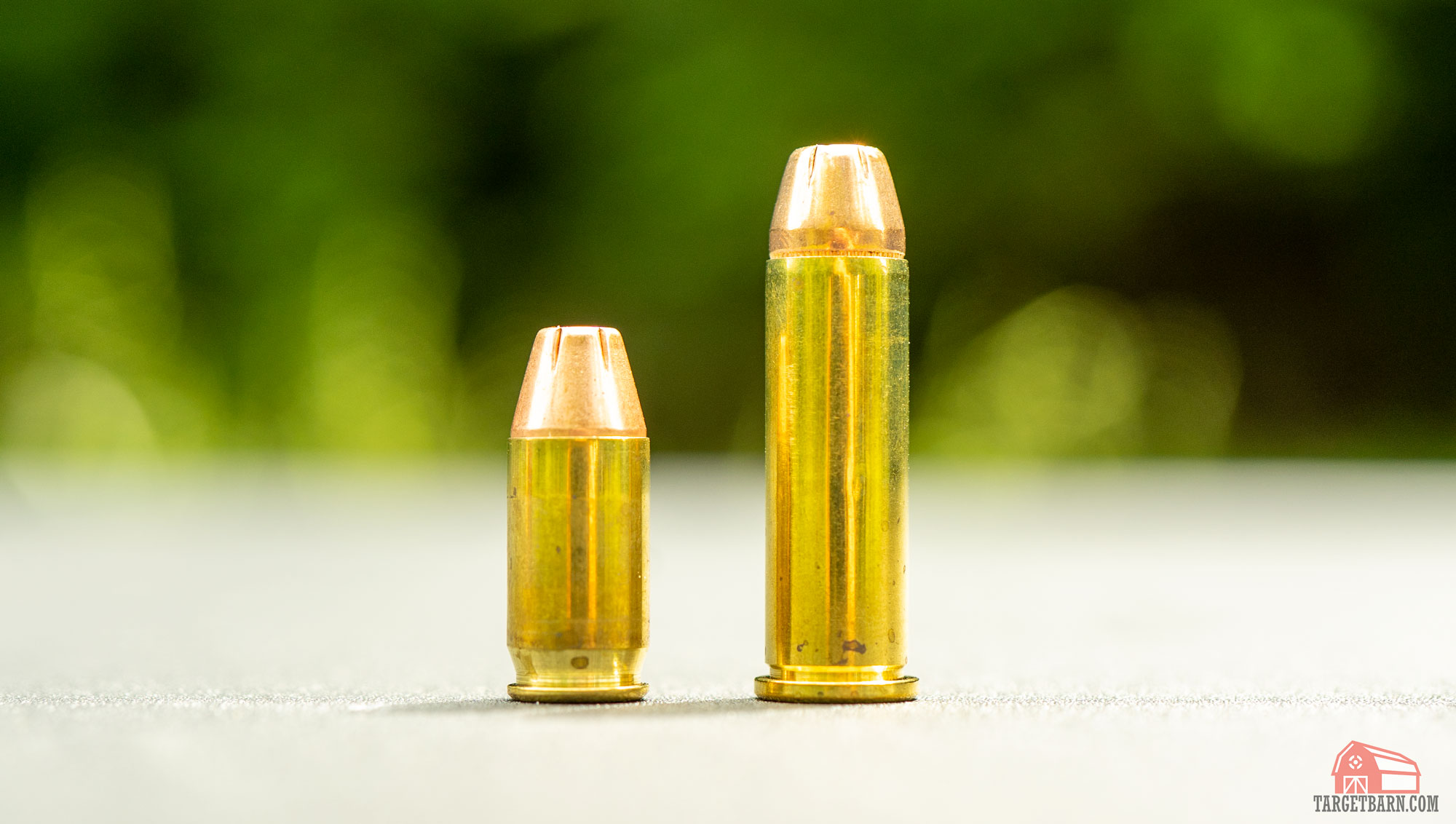 a .380 round next to a .38 special round