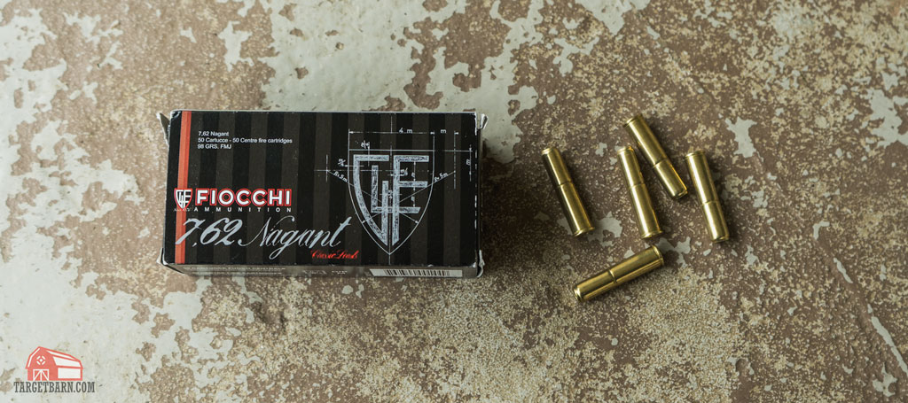 a box and rounds of fiocchi 7.62 nagant ammo