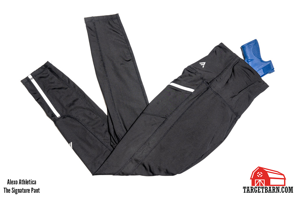 Alexo Athletica The Signature Pant concealed carry leggings with blue gun