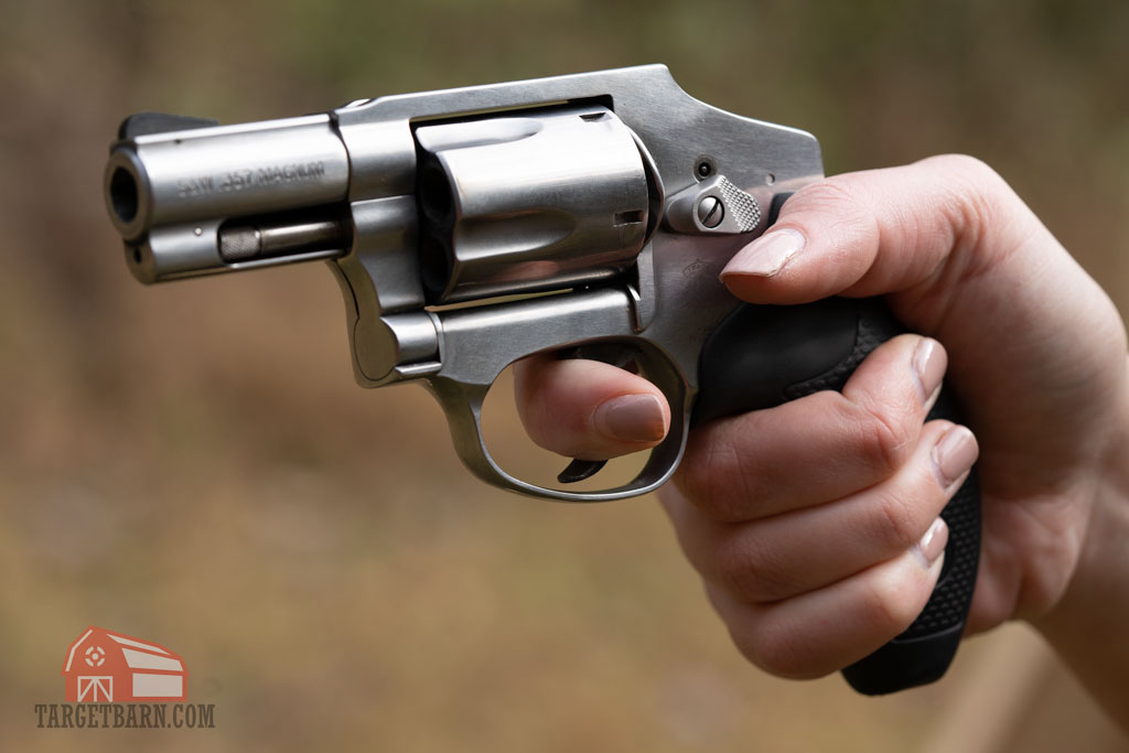 using the first joint of the trigger finger on a double action revolver