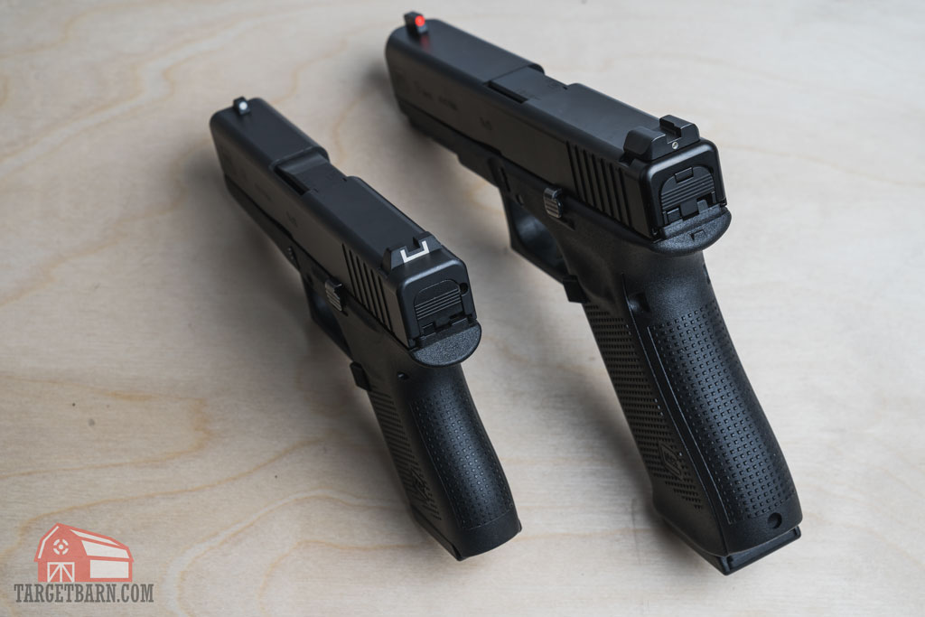 a single stack pistol on the left is thinner compared to the double stack pistol on the right