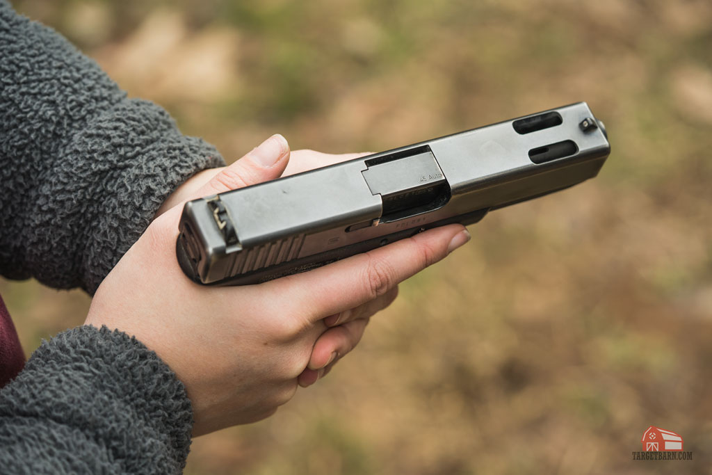 overhead view of a ported barrel glock