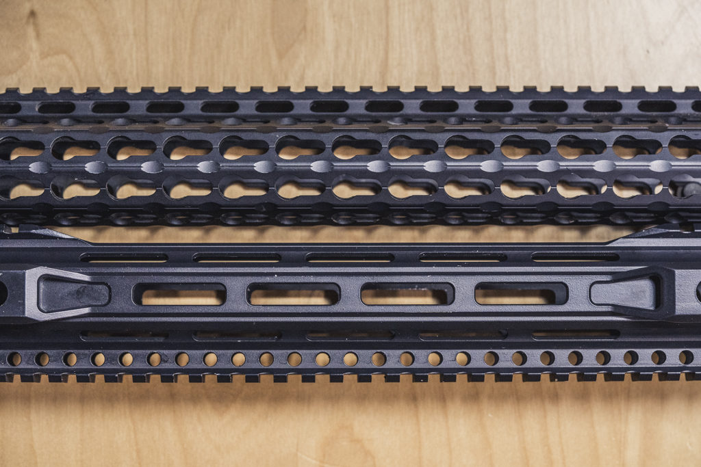 showing keymod and mlok handguards together