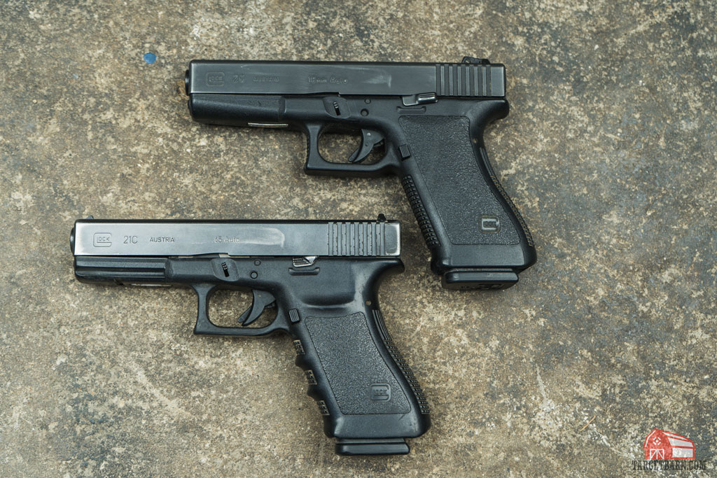 two pieces of glock history: the glock 21c chambered in .45 ACP and glock 20 chambered in 10mm