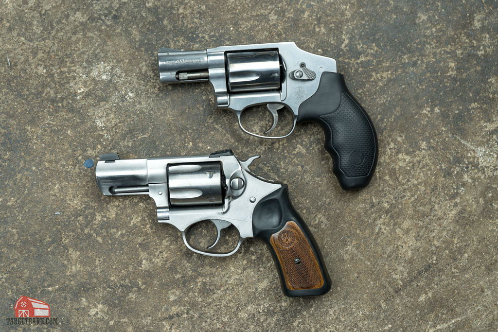 a revolver with a hammer compared to a hammerless revolver