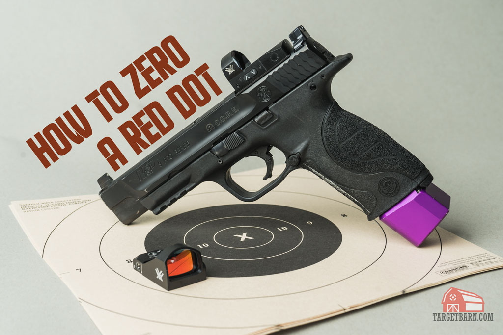 A pistol with a red dot optic on it