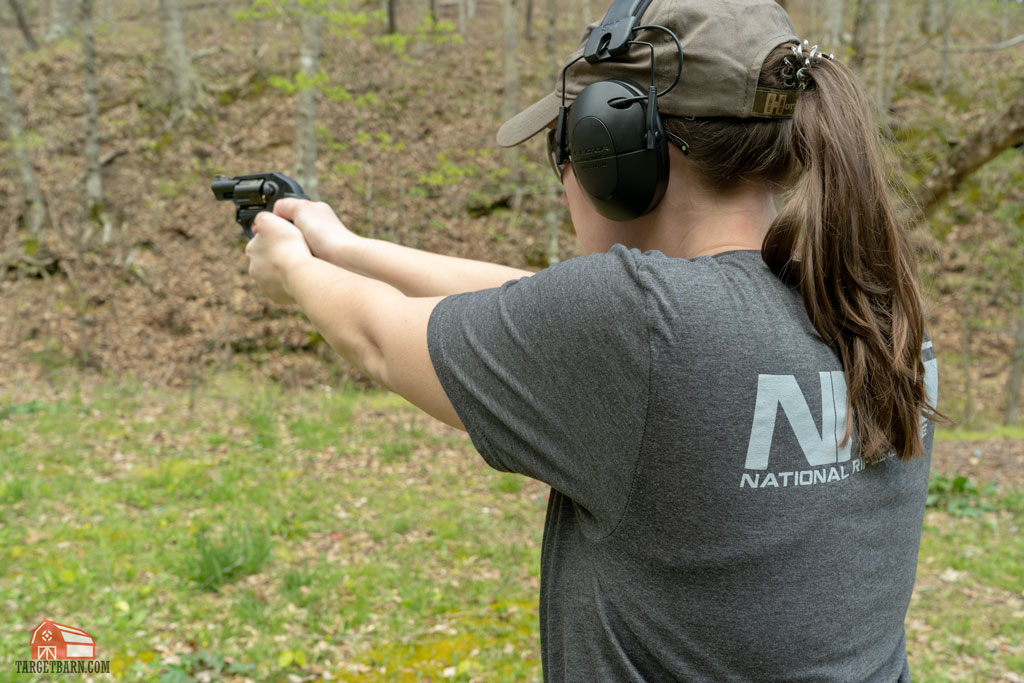 McKenzie shooting a Ruger as we test the best revolvers for concealed carry