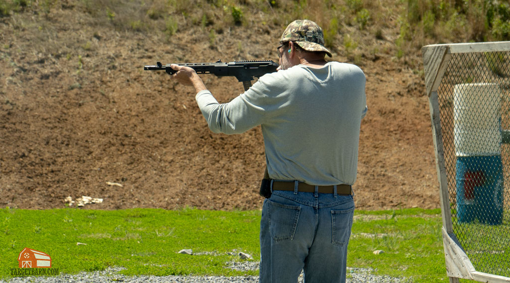 shooter using a ruger pc carbine at a USPSA match