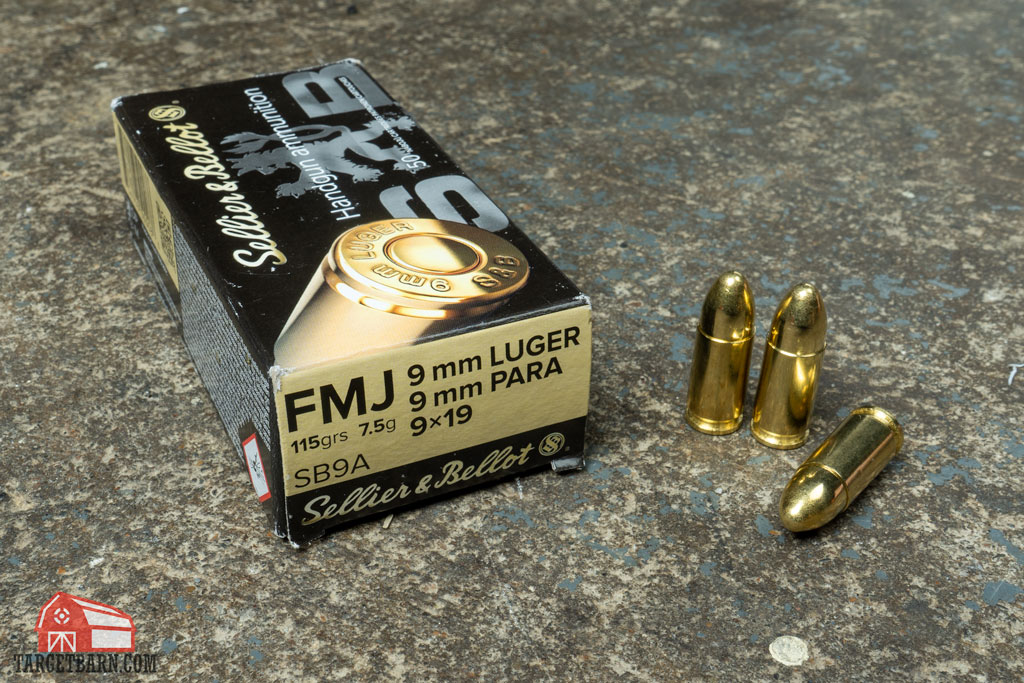 a box of sellier & bellot 9mm labeled 9mm Luger, 9mm para, and 9x19