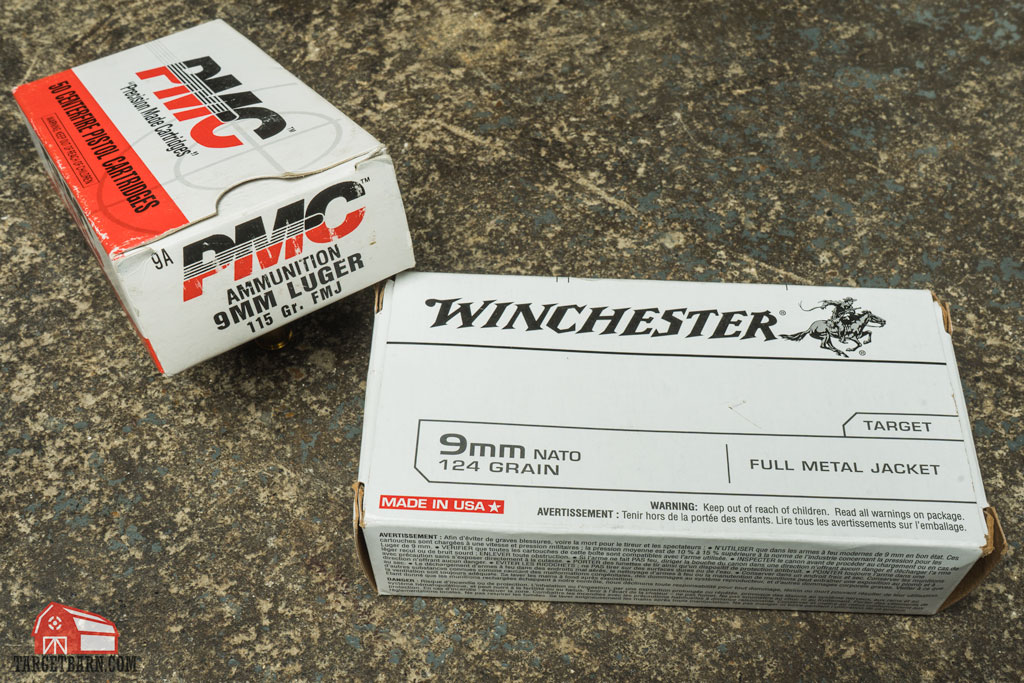 a box of pmc 9mm luger and a box of winchester 9mm NATO