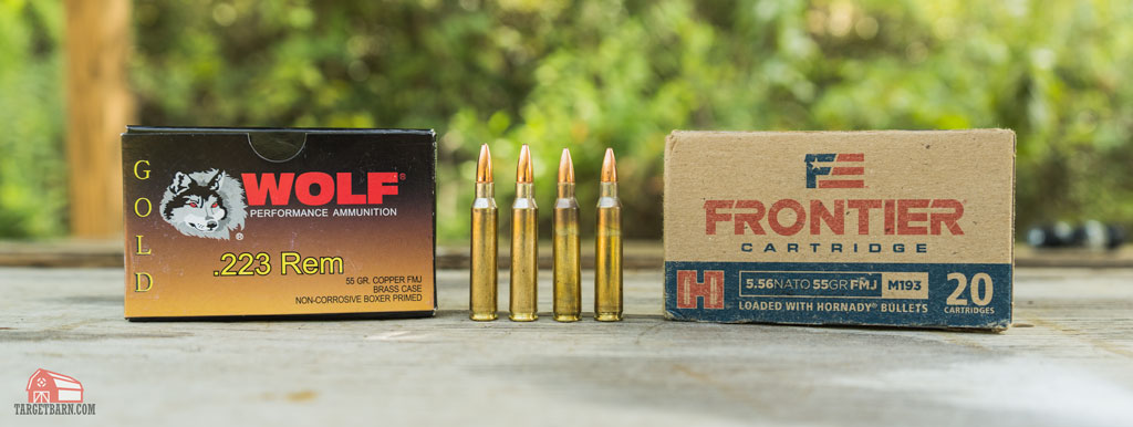 a box and rounds of wolf gold 223 next to a box and rounds of frontier 556x45 ammo