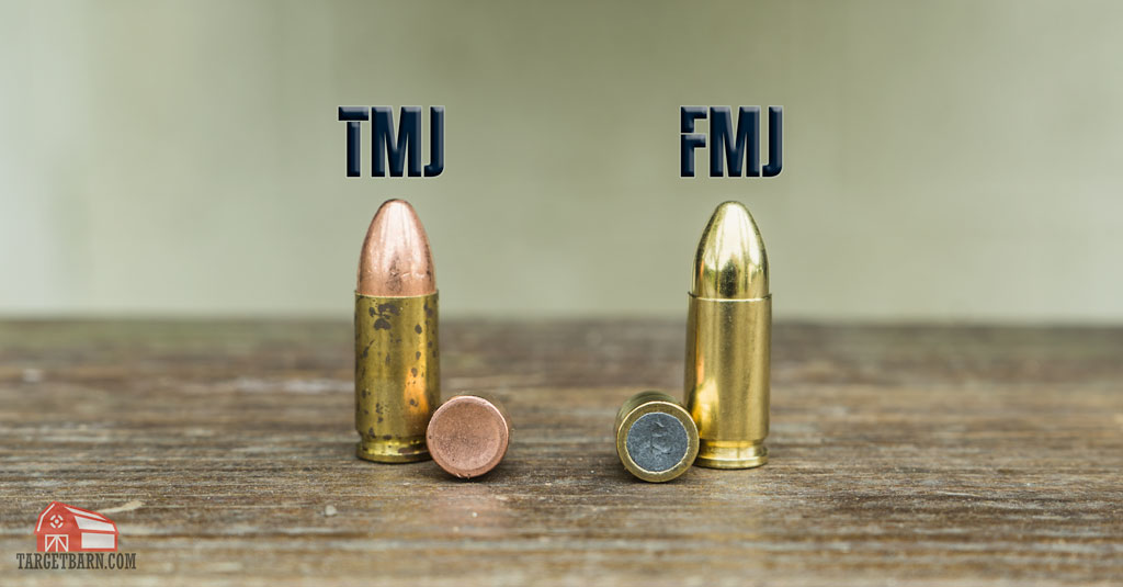 a tmj bullet where the copper encloses the lead next to a fmj bullet