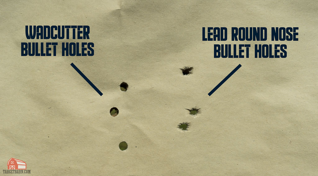 showing the clean wadcutter bullet holes on a paper target compared to lrn bullet holes