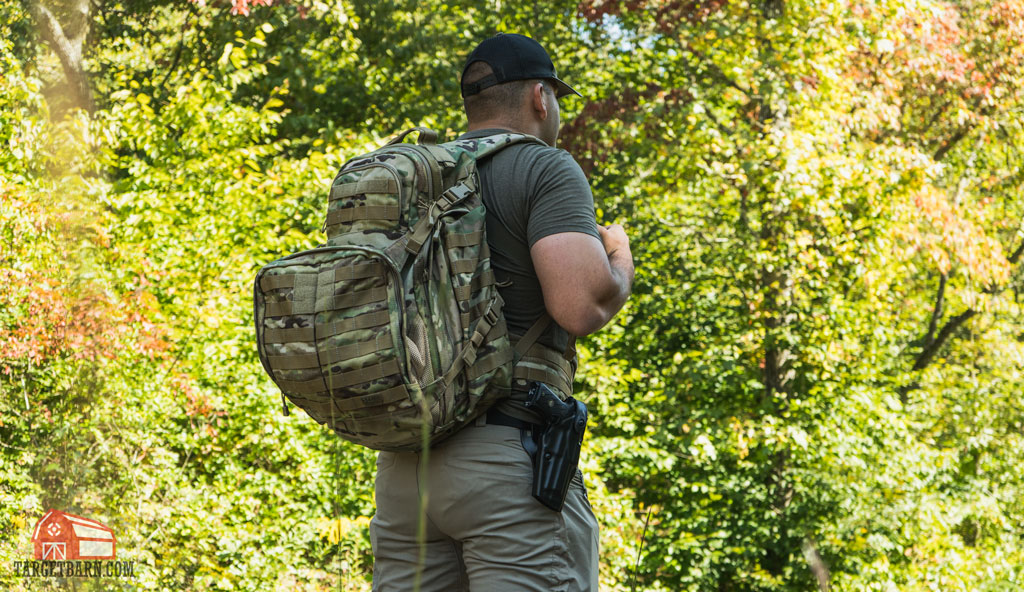carrying a gun in a retention hoslter while hiking