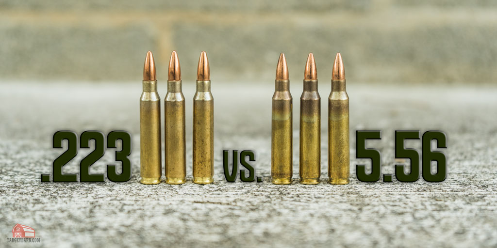 223 ammunition vs 5.56 ammunition displayed at a shooting range