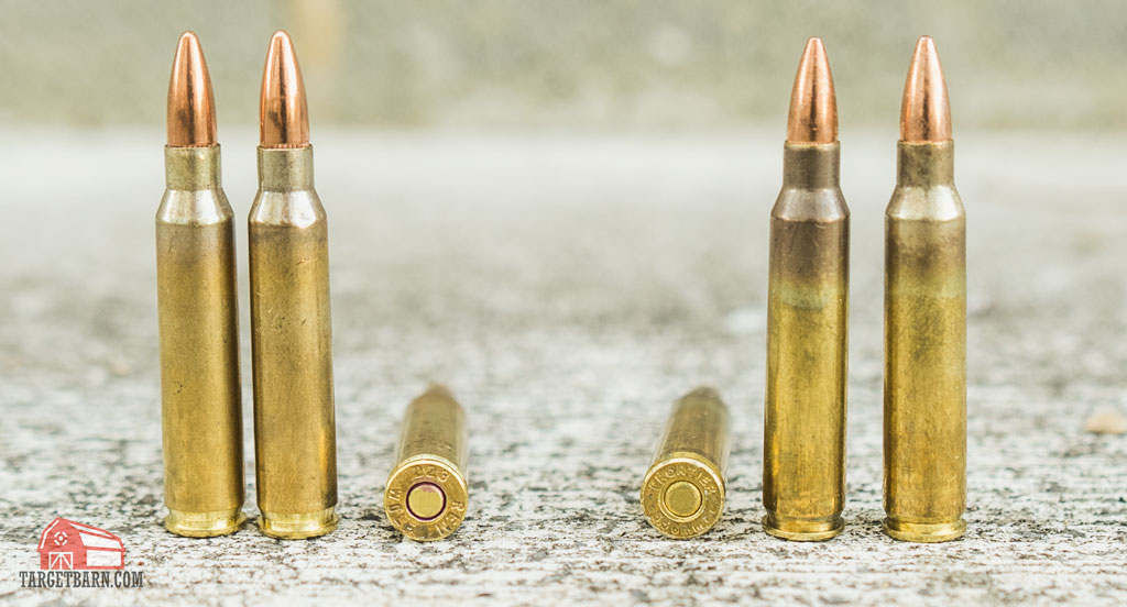 223 and 556 rounds next to each other to show their cases are the same size