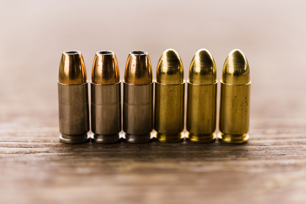 jacketed hollow point ammo on the left and full metal jacket ammo on the right