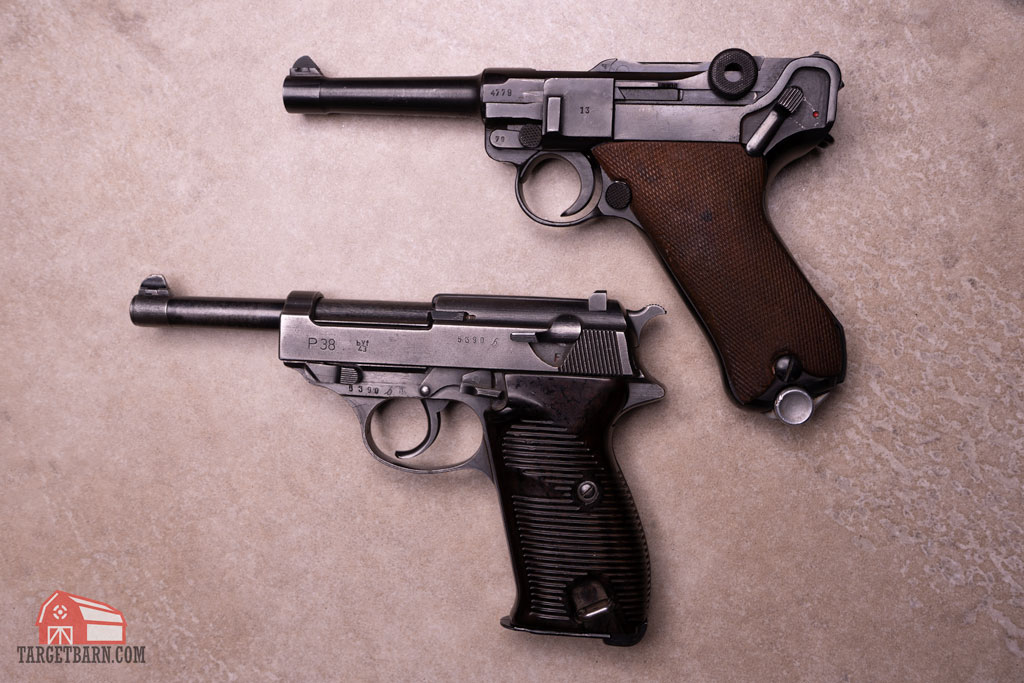 a walther p38 and a luger in 9mm