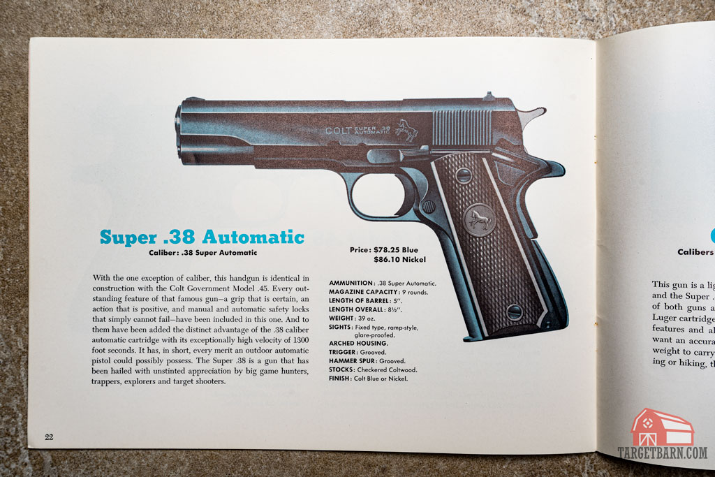 a picture of an early colt catalog showing the super .38 automatic pistol