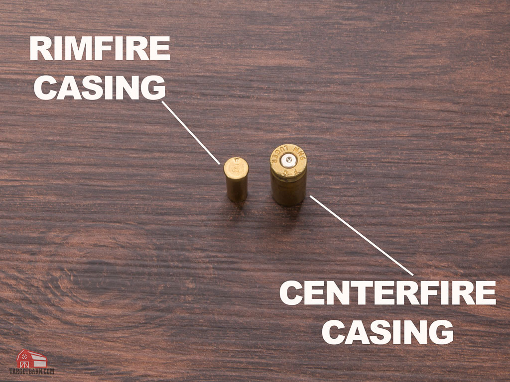 showing the primer strikes of a rimfire casing vs. centerfire casing