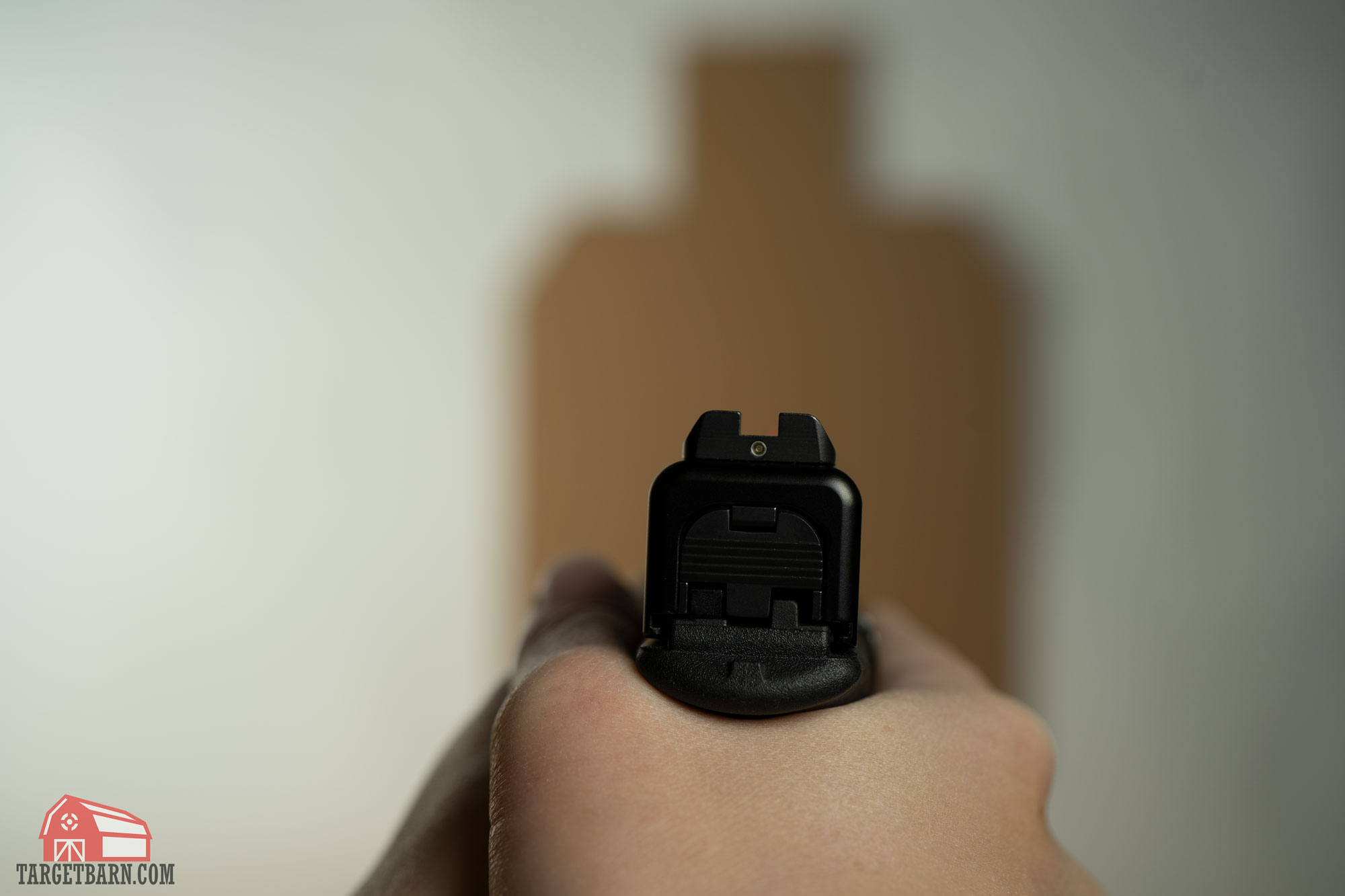 with gross index sight picture, the reference is on the back of the gun