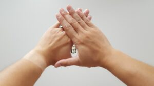 Hands held in small triangle to determine eye dominance
