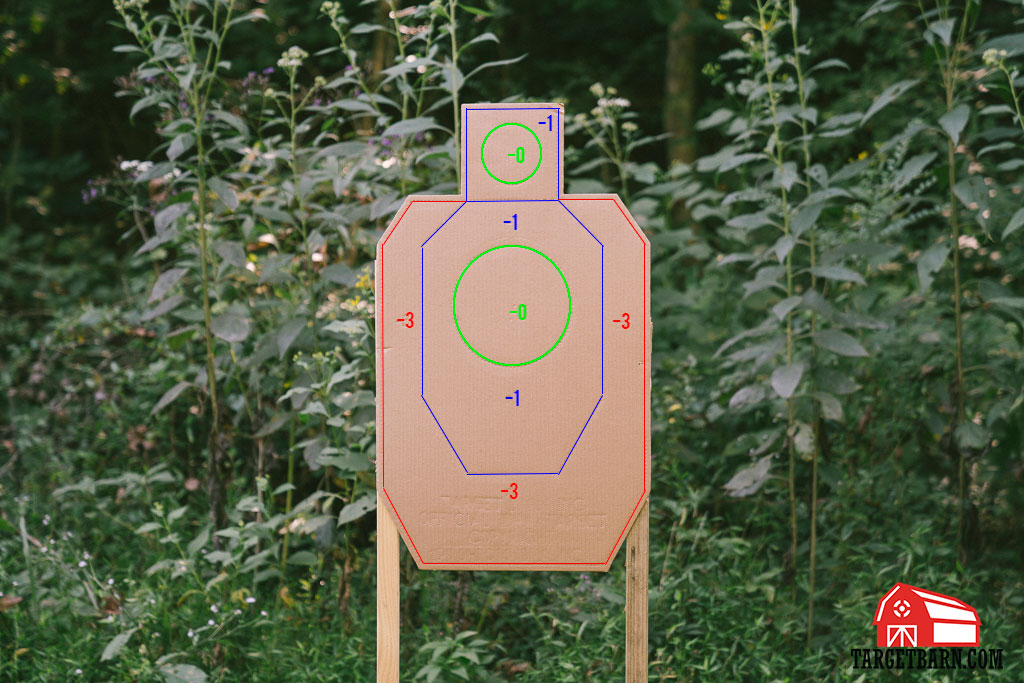 the scoring zones labeled on an idpa target