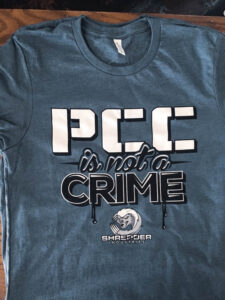 """PCC is not a crime"" shirt from Shredder Industries"