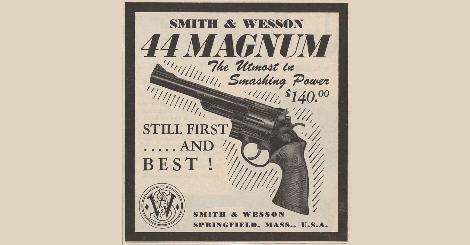an advertisement for the smith & wesson moodel 29 from the year 1955