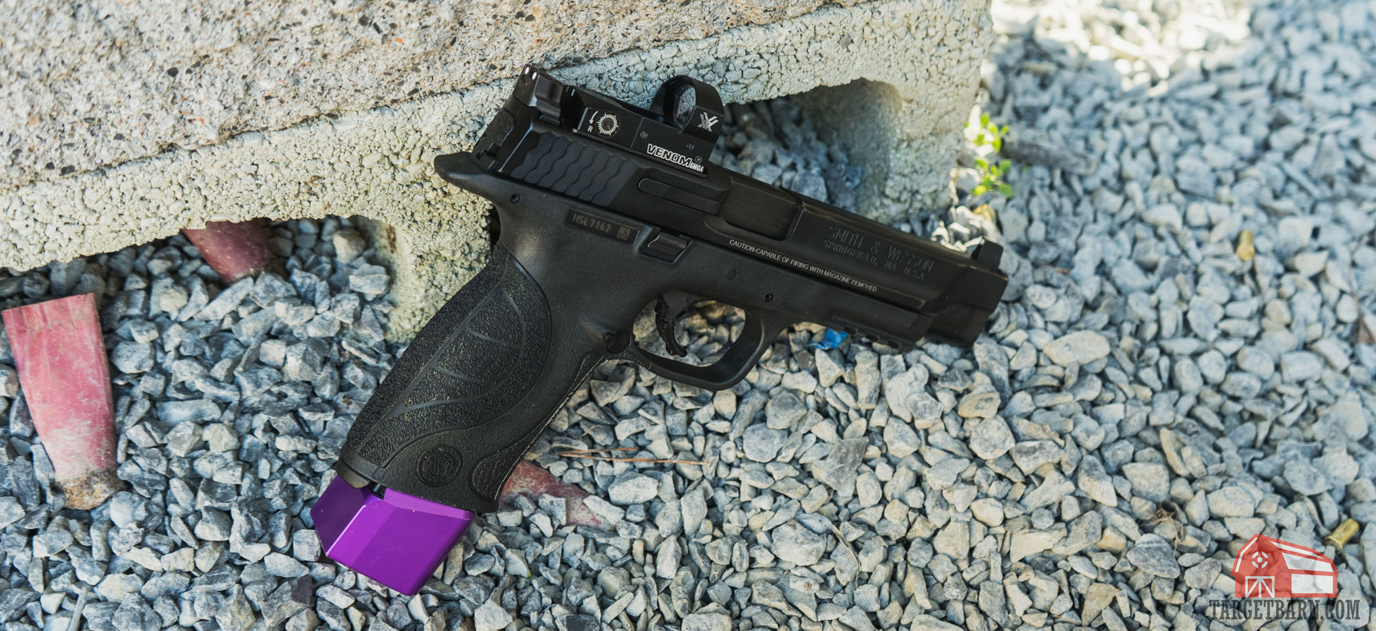 uspsa carry optics smith and wesson m&p with a vortex red dot at the range